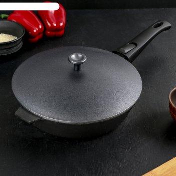 Сковорода литая чугунная 240х60 со съемной ручкой с алюминиевой крышкой