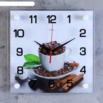 Часы настенные, серия: кухня, чашка с кофейными зернами, 25х25  см, микс