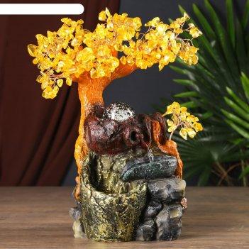 Фонтан настольный от сети дерево с янтарными листьями 312 камней  34х26х13