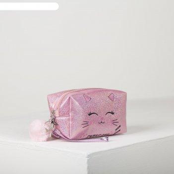 Косметичка дорожная киса, 18*7,5*10см, отд на молнии с ручкой, розовый
