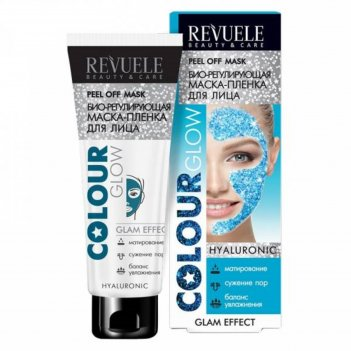 Маска-пленка для лица revuele colour glow hyaluronic, био-регулирующая, 80