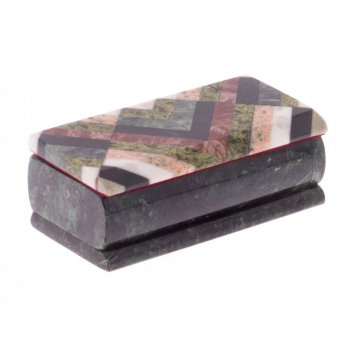Оригинальная шкатулка из камня мозаика 15х7х5 см