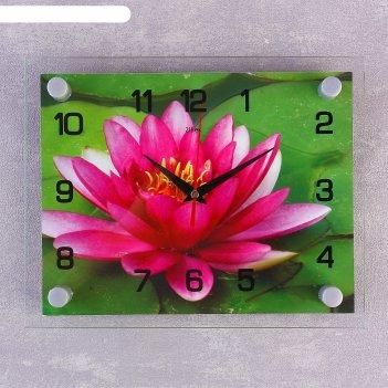 Часы настенные, серия: цветы, розовый лотос, 20х26  см, микс