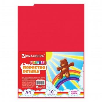 Цветная пористая резина (пенка в листах) для творчества а4, 10 листов, 10