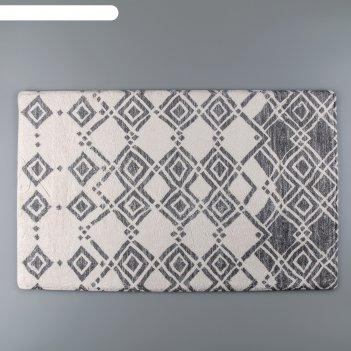 Коврик для дома 50x80 см кнаус, длина ворса 1,5 см, микрофибра, цвет серо-
