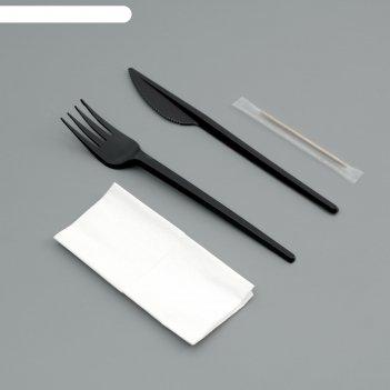 Набор одноразовой посуды вилка, нож, салф.бум., зубочистка черный цвет