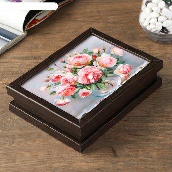 Шкатулка розы в стеклянной вазочке 14х19 см