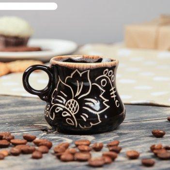 Чашка кофейная цветы, 50 мл, темно коричневая