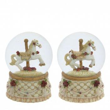 Фигурка декоративная в стекл. шаре лошадка d6,5 см, l6,5 w6,5 h9,3 см, 2в.