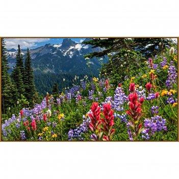 Алмазная мозаика весна в горах, 65*50 см, 45 цветов