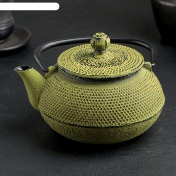 Чайник с ситом 600 мл восточная ночь, зеленый, эмалированное покрытие внут