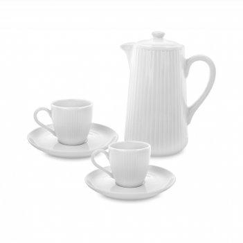 Сервиз кофейный на 2 персоны, 3 предмета, материал: фарфор, цвет: белый, с