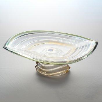 Фруктовница на ножке зеленая bohemia gold wave r-g 36 см