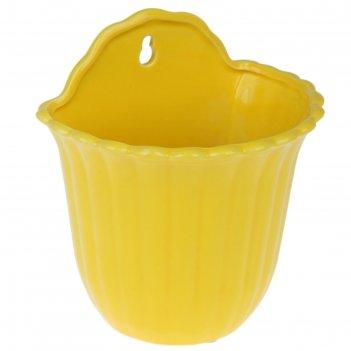 Кашпо настенное желтое 16*12*19см