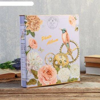 Фотоальбом на 300 фото 10х15 см цветы, часы и птицы в короб, зол.обв микс