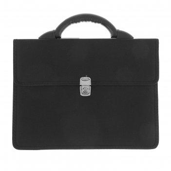 Портфель деловой ткань 350 х 260 х 100 мм,выборг, чёрный