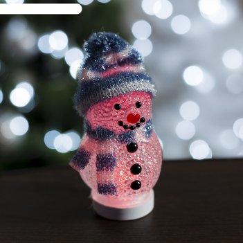 Фигура акрил. снеговичок в синем 10х6 см, 1 led, usb