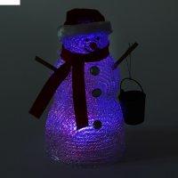 Фигура акрил. снеговик с ведром 13х13х25 см, led (батарейки ааа*3 шт.не в