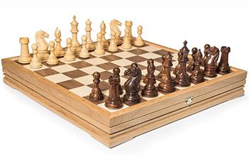 Шахматы большие деревянные утяжеленные, король 10см, 47х47см