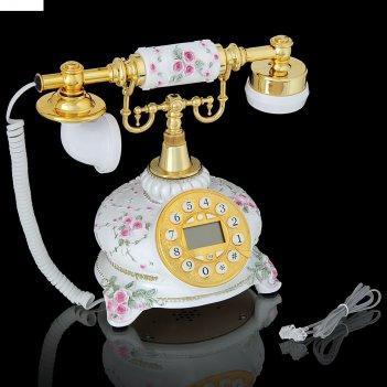 Ретро-телефон цветочные мотивы