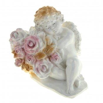 Статуэтка ангел с розами большая белый