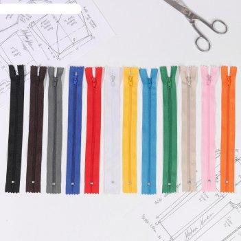 Молния для одежды, длина 23см, цветная, 12 шт