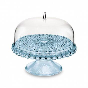 Блюдо для торта tiffany, диаметр: 30 см, материал: пластик, цвет: голубой,