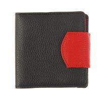 Кредитница, 2 ряда, 40 карманов, хлястик с кнопкой, флотер черно-красная