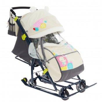 Санки коляска «ника детям нд 7-6», рисунок с медвежонком бежевый, механизм