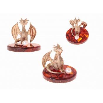 Сувенир дракон с жемчужиной в ювелирной бронзе