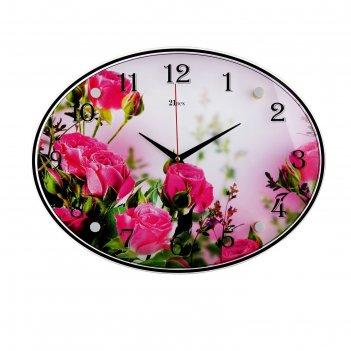 Часы настенные, серия: цветы, розовые розы, 35х46 см