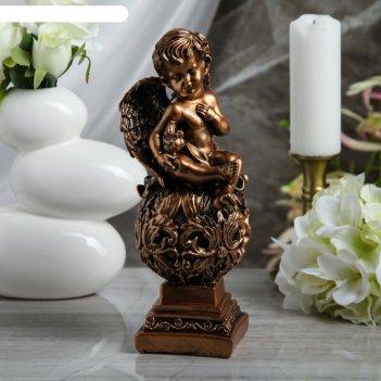 Статуэтка ангел на резном шаре с голубкой средняя, бронза