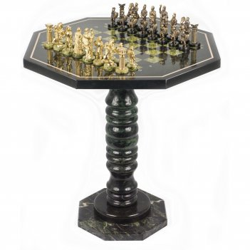 шахматный стол фигуры римляне бронза змеевик 600х600х620 мм