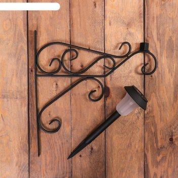 Кронштейн для кашпо, кованный, с фонарём, 50 см, металл, чёрный, «узор»