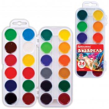 Акварель медовая 24 цвета, пластиковая коробка, без кисти