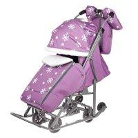 Санки-коляска pikate снежинки, цвет: фиолетовый