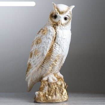 Статуэтка филин на пне 47 см, белая