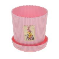 Горшок для цветов с поддоном le gaufre, 1 л; d=11.5 розовый