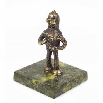 Статуэтка робот бендер бронза змеевик 50х50х75 мм 120 гр.