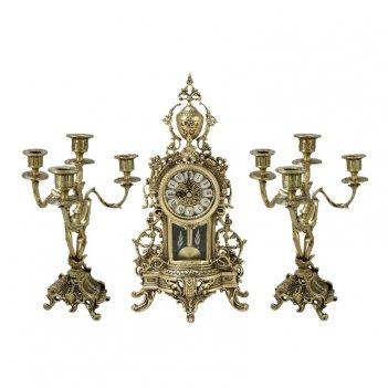 """Каминные часы с маятником  с канделябрами """"кафедрал ново"""""""