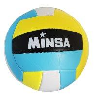 Мяч волейбольный minsa v12 р.5 18 панелей, pvc, 2 под. слоя, машин. сшивка