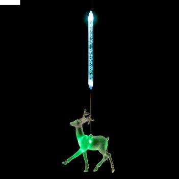 Игрушка светящаяся подвесная олень на 1 трубке, 10х10 см, батарейки в комп