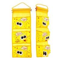 Кармашки на стену давай подержу (3 отделения), цвет желтый
