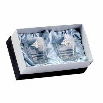 Два бокала для виски maria, накладка отечество, долг, честь серебро ч/х