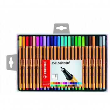Набор ручек капиллярных 25 цветов stabilo point 88 0.4 мм, 8825-1 в пласти