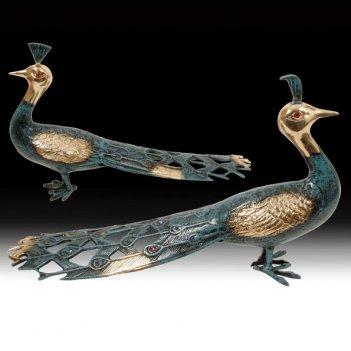Статуэтка из бронзы павлины пара