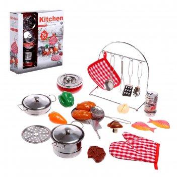 Набор металлической посудки поварёнок  с набором продуктов