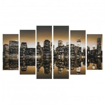 Модульная картина на подрамнике мегаполис, 2 — 25x57,5, 2 — 25x74,5, 2 — 2