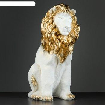 Фигура лев сидя огромный перламутр-золото 57х27х42см