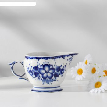 Молочник лиза ,авт. рыженок а.в., 15х9х8 см,  1 сорт, гжель